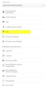 Google Analytics Filter Datenansicht